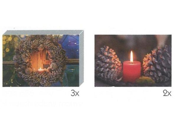 Kartenbox Art Bula 5er Set 7,4x10,5cm, Kerzen und Zapfen