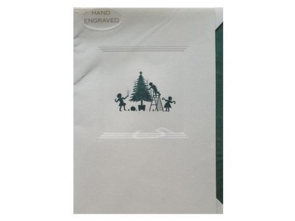 Weihnachtskarte Borer Taube und Weltkarte 11,5x17cm