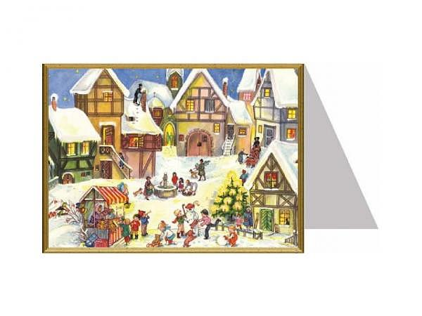 Weihnachtskarte Richard Sellmer Weihnachtstreiben, Dorfplatz