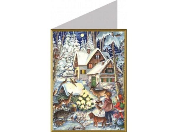 Weihnachtskarte Richard Sellmer Tiere vor dem Haus im Wald