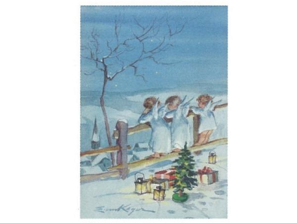 Weihnachtskarte Art Bula drei Engel schauen über Holzzaun