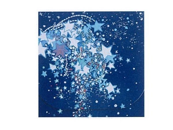Weihnachtskarte blau mit weissen Sternen 16x16cm quadratisch
