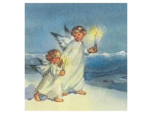 Weihnachtskarte Art Bula Engel spielt Trompete vor Vogelhaus
