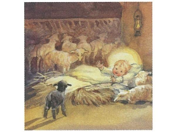 Weihnachtskarte Art Bula Engel schläft in Schaf-Stall