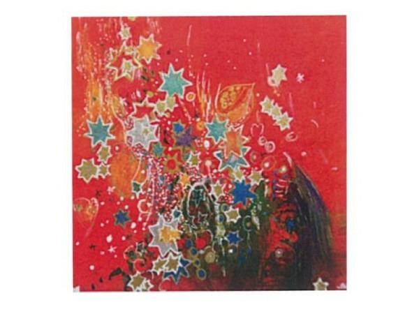 Weihnachtskarte Sterne Red 16x16cm