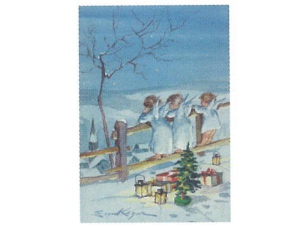 Weihnachtskarte Art Bula mini Engel schauen von Holzzaun
