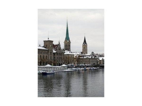 Karte Zürich mit Bild auf den Zürichsee