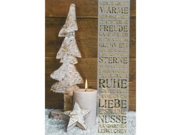 Weihnachtskarte ABC Holztanne mit Kerze 12x17,5cm