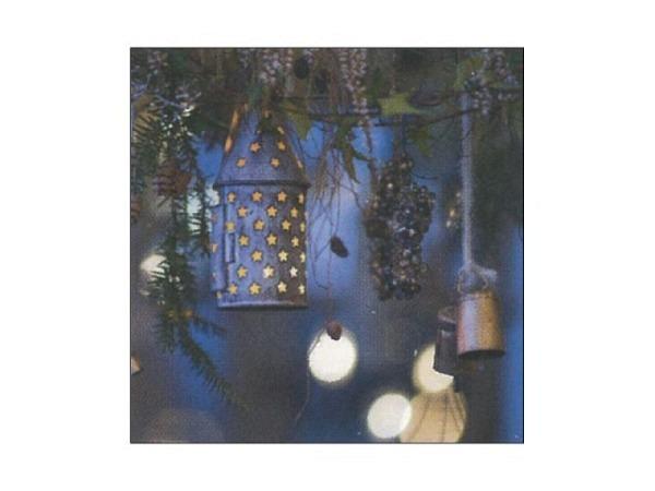 Weihnachtskarte Art Bula Laterne aufgehängt  mit Tannenästen