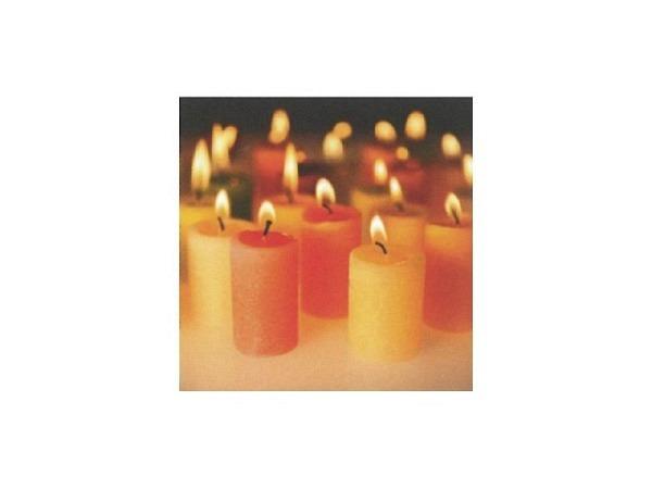 Weihnachtskarte Art Bula gelbe und rote Kerzen