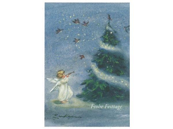 Weihnachtskarte Art Bula Engel spielt Trompete vor Tanne