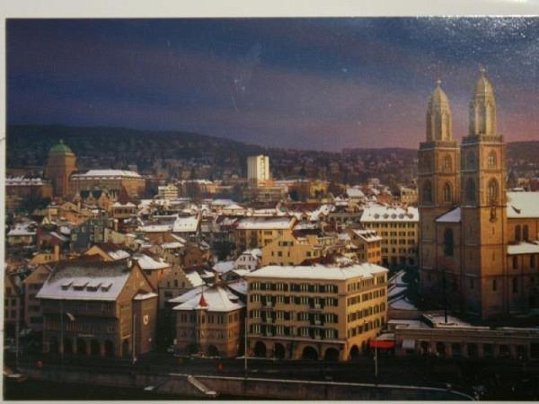 Winterkarte Advision Zürich Grossmünster und ETH-Hauptgebäude