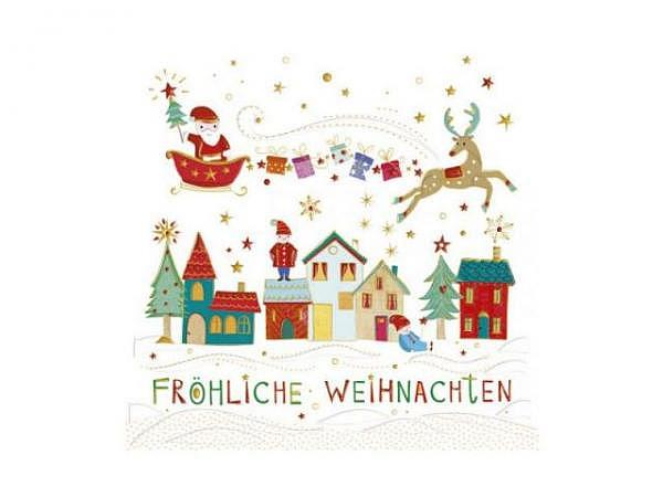 Weihnachtskarte Turnowsky Nikolaus im Propellerflugzeug