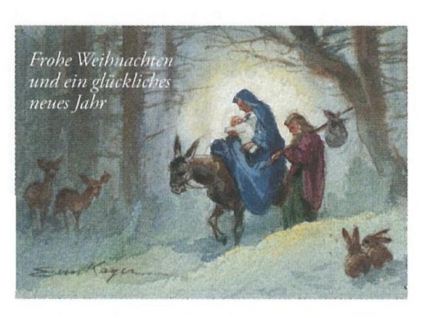 Weihnachtskarte Art Bula Maria und Josef mit Jesuskind