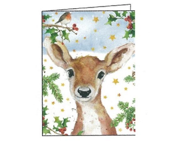 Weihnachtskarte Gollong Reh mit Tannenzweigen 6,5x8,4cm
