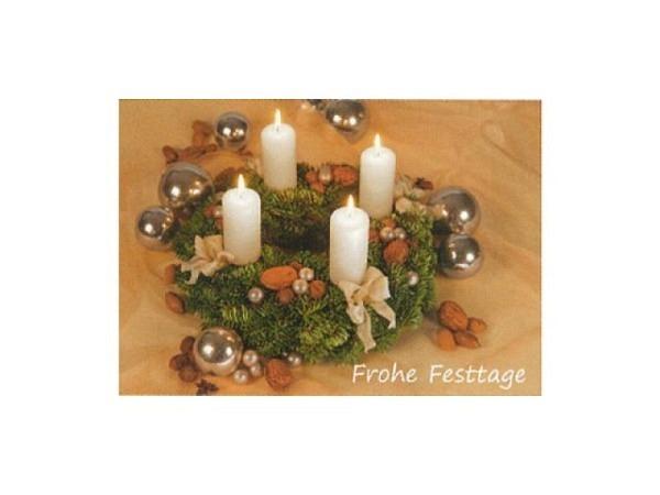 Weihnachtskarte Art Bula Adventskranz mit brennenden Kerzen