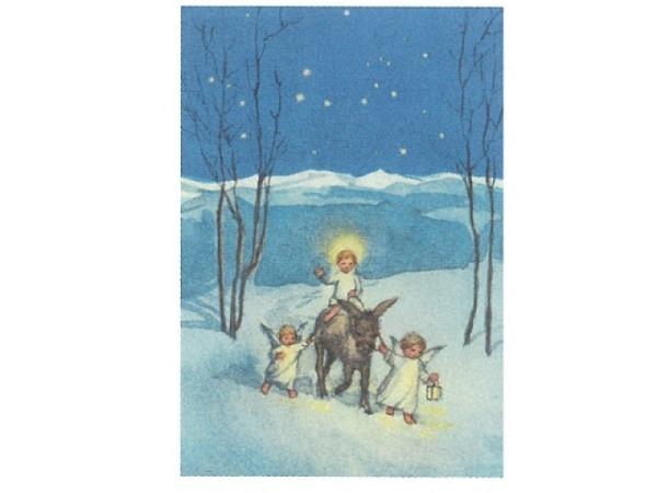 Weihnachtskarte Art Bula 12,2x17,5cm drei Engel mit Esel