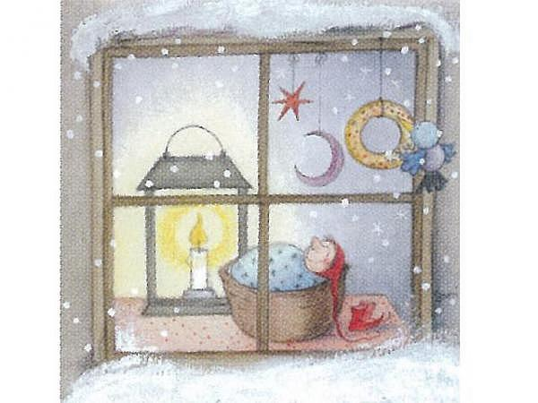 Weihnachtskarte Art Bula schlafendes Zwerglein