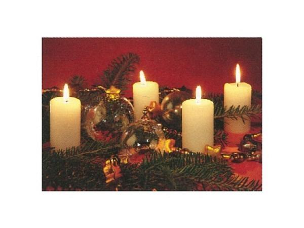 Kartenbox Art Bula 5er Set, Weisse Kerzen mit Tannenzweigen