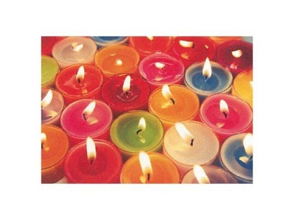 Kartenbox Art Bula 5er Set, Farbige Teelichter kleine Kerzen