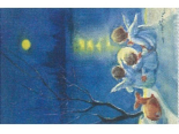 Kartenbox Art Bula 5er Set Engelkinder am See bei Mondschein