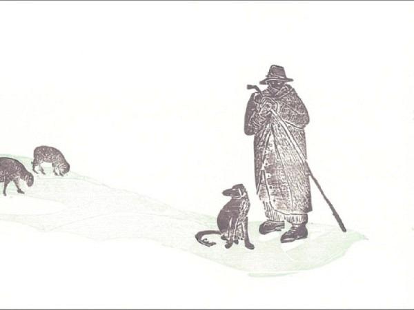 Winterkarte Holzschnitt Schafe,