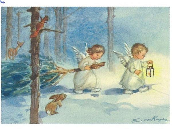 Weihnachtskarte Art Bula zwei Engel ziehen durch den Wald