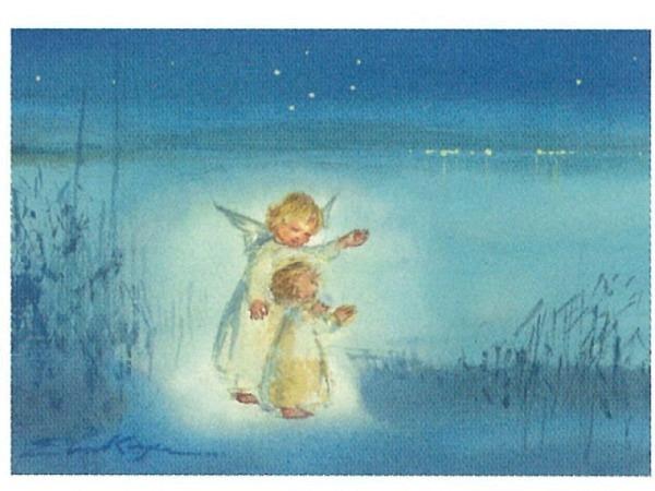 Weihnachtskarte Art Bula kleiner und grösserer Engel