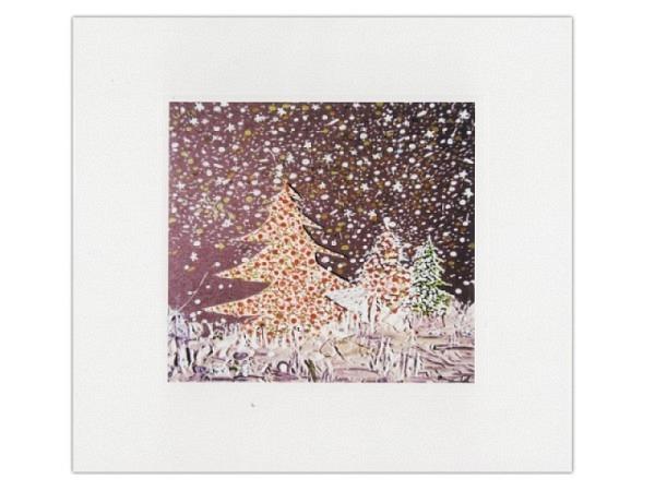 Weihnachtskarte Tannenbäume im Wald 16x16cm quadratisch