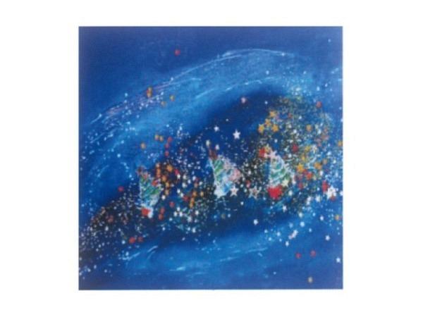 Weihnachtskarte Sterne rot/blau 6er Set 12,5x12,5cm