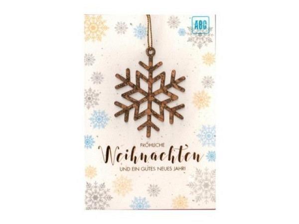 Weihnachtskarte ABC Kerze gold, Doppelkarte gold mit Kerze