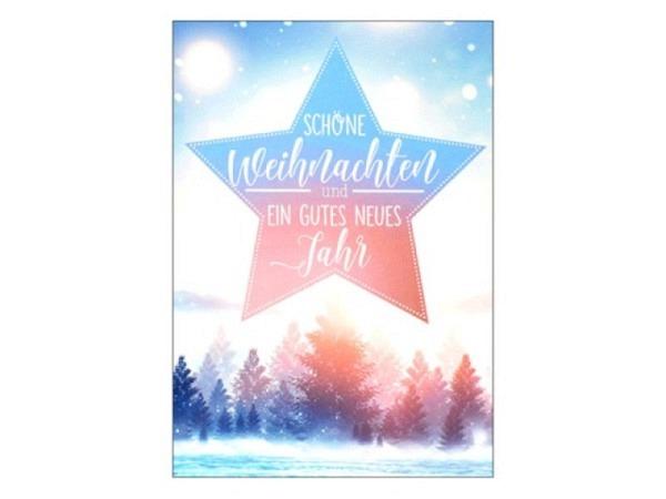 Weihnachtskarte ABC Dame im Schnee, Weihnachtseinkauf