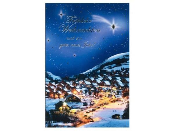 Weihnachtskarte ABC Bergdorf am Abend