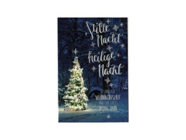 Weihnachtskarte ABC Schnee bedeckter Weihnachtsbaum im Winterwald