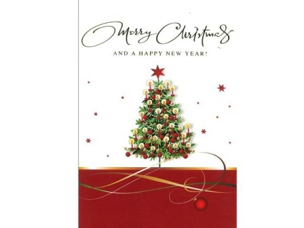 Weihnachtskarte ABC Christbaum mit Kerzen eglisch