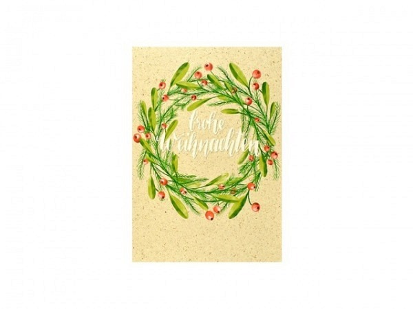 Weihnachtskarte ABC Baumkugel Merry Christmas