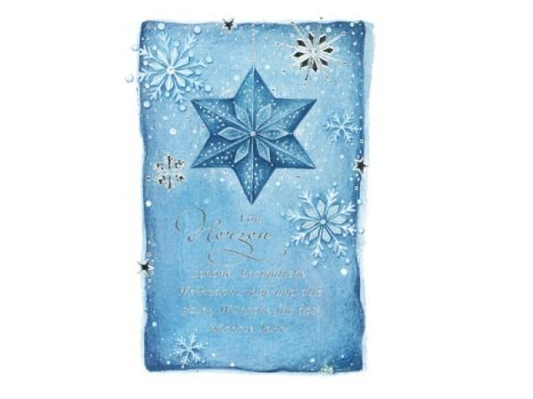 Weihnachtskarte ABC blauer Schneesternenzauber