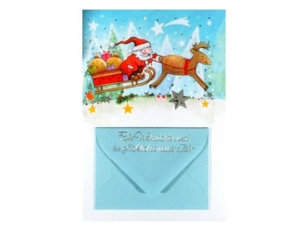 Weihnachtskarte ABC Fliegender Nikolaus im Schlitten