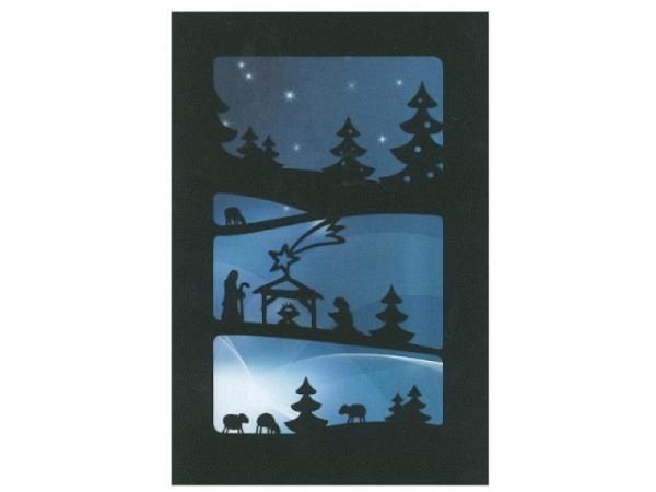 Weihnachtskarte ABC Scherenschnitt Krippe