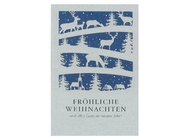Weihnachtskarte ABC Scherenschnitt Wald