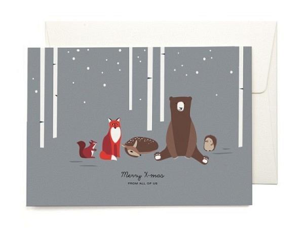 Weihnachtskarte ABC blau mit Silberschneeflocken<br>