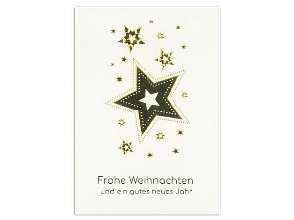 Weihnachtskarte ABC Goldene Sterne 5Stk