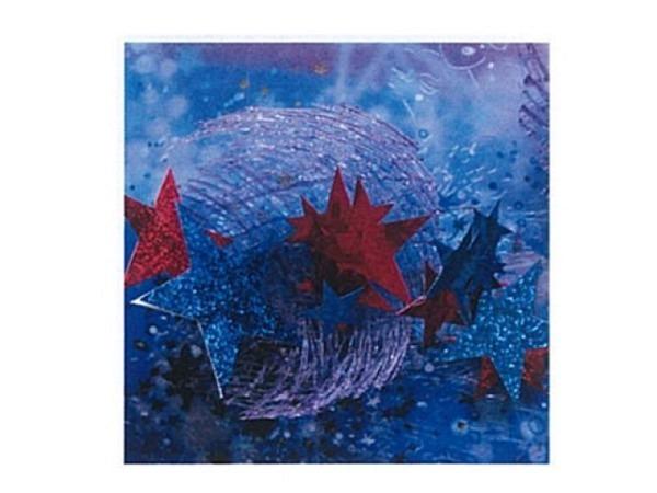 Weihnachtskarte grosse rote und blaue Sternen 16x16cm quadratisch