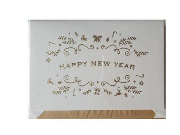 Neujahrskarte Borer 3er Set Wintertannen, A5 14,8x21cm, schwarze Doppelkarten mit verschneiten Tanne
