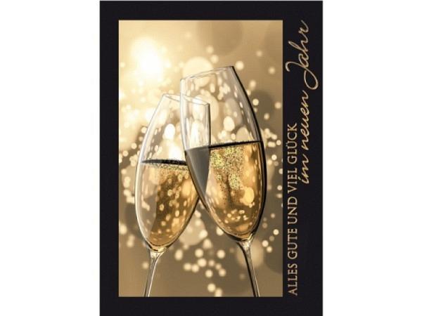 Neujahrskarte Borer 3er Set Champagner, A5 14,8x21cm, schwarze Doppelkarten mit zwei gefüllten Champ