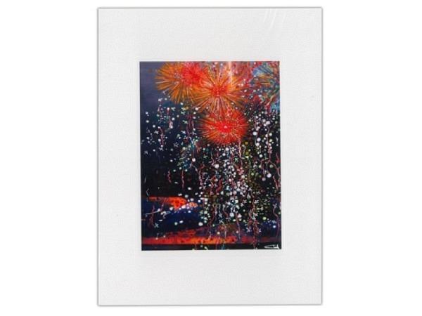 Neujahrskarte Feuerwerk schwarz A5