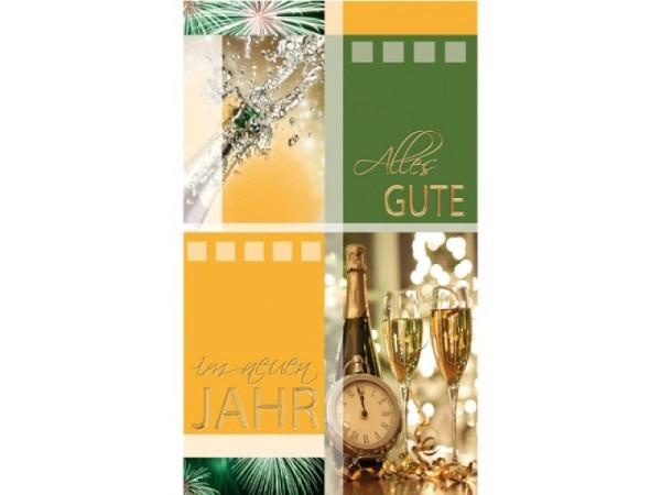 Neujahrskarte Borer 5er Set Champagner und Taschenuhr, 9,5x16cm, orange-grüne Doppelkarten mit Champ