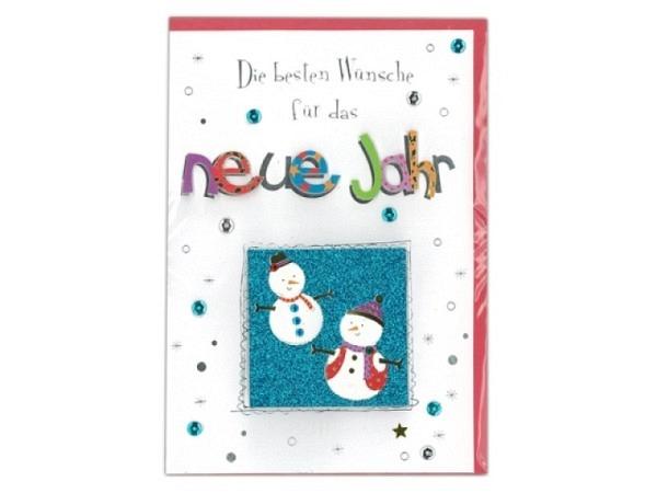 Neujahrskarte AvanMore Schneemänner 11,1x16,5cm, weisse Doppelkarte mit zwei lustigen Schneemänner vor blauem Hintergrund, mit Metalliceffekt, ohne Einlageblatt, inkl. rotem Couvert
