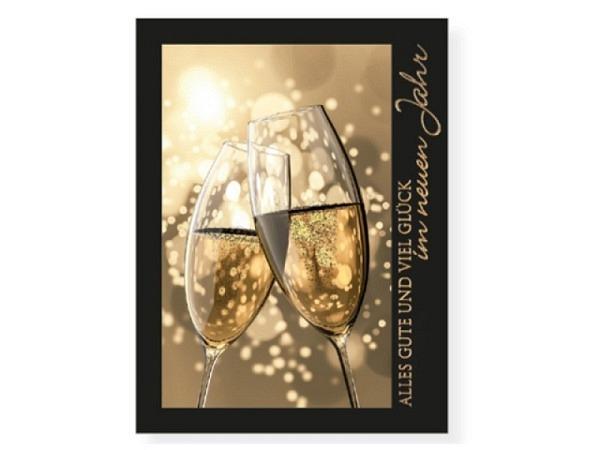 Neujahrskarte Borer Champagnerglas A5 21x14,5cm