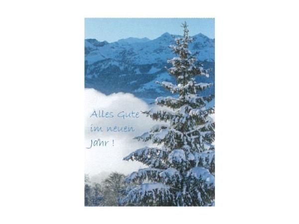 Neujahrskarte Art Bula 12,2x17,5cm Alles Gute im neuen Jahr! Verschneite Tanne vor Bergkette im Schatten, Doppelkarte mit bedrucktem Einlageblatt, inkl. weissem Couvert mit Spitzklappe